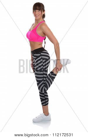 Stretching Stretch Fitness Woman Standing At Sports Workout Training Isolated