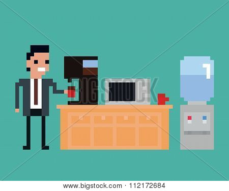 pixel art illustration of office worker pours drink in the kitchen, coffee machine, microwave, water
