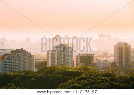 Cityscape in haze of Minsk, Belarus. Summer season, sunset