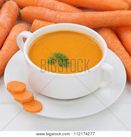 Healthy Eating Carrot Soup With Carrots In Bowl