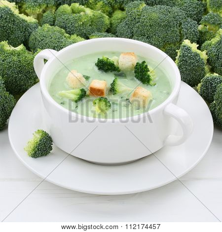 Healthy Eating Broccoli Soup In Bowl