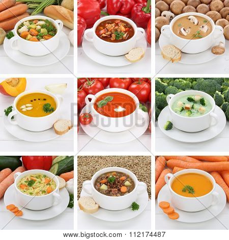 Collection Of Soups Healthy Eating Soup In Bowl Tomato Vegetable Noodle