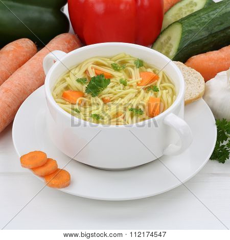 Healthy Eating Noodle Soup In Cup With Noodles