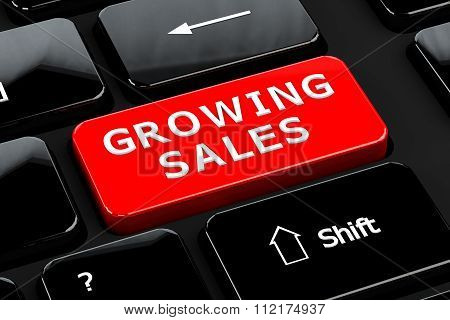 Growing Sales On Computer Keyboard Background