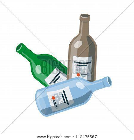 Isolated Glass Bottles