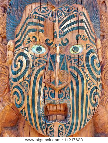 Carved and Tattooed Maori Face