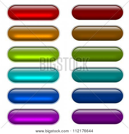 Color light glossy glass buttons isolated on white background.