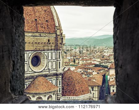 View Of The Duomo Cathedral And Great Synagogue In Florence Through The Stone Window, Florence, Ital