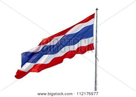 Flying the Thailand Flag and pole isolate on white background