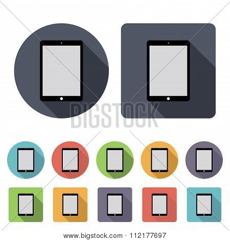 Tablet Icons Set In The Style Flat Design On The White Background. Stock Vector Illustration Eps10