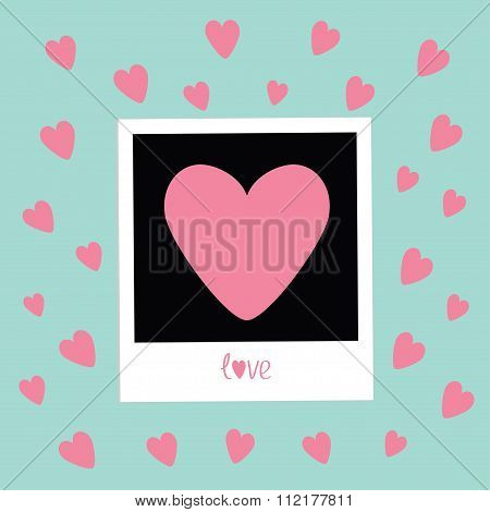Instant Photo In Flat Design Style. Pink Hearts. Love Card. Blue Background