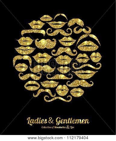 Lips And Moustaches Gold Set. Design Glitter Icons Element.