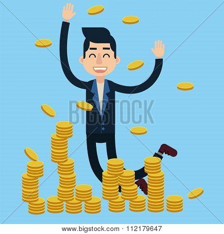 Successful Businessman Celebrates Big Money Deal