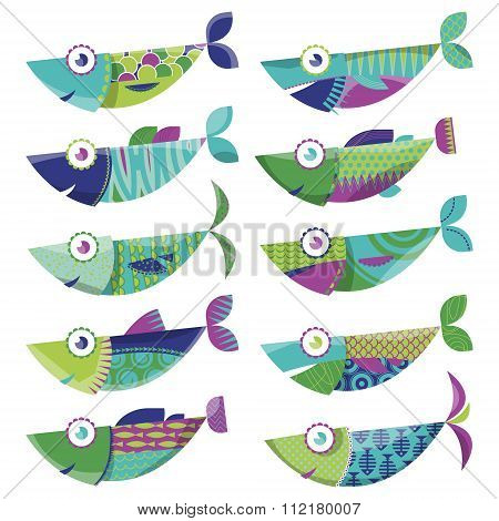 Set Of 10 Multi-colored Decorated Fishes. Sardines.
