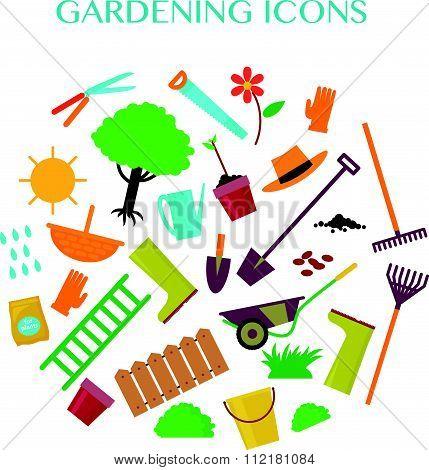 Vector flat illustration of gardening elements