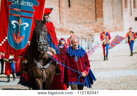 Palio, Parade Of Medieval Knight On Horseback