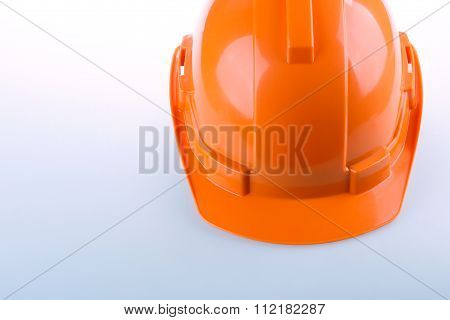 Orange Safety Helmet Hard Hat, Tool Protect Worker Of Danger In Construction Industry