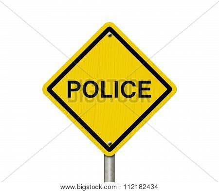Police Caution Road Sign