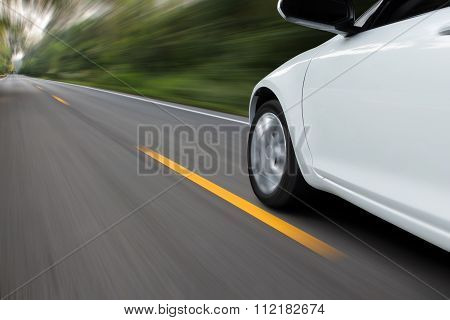 Speed Movement Car On Rural Asphalt Road