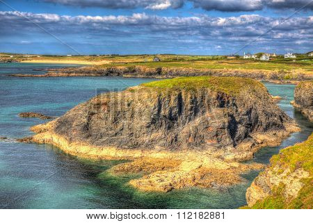 Treyarnon Bay coast Cornwall England UK Cornish north colourful vibrant HDR