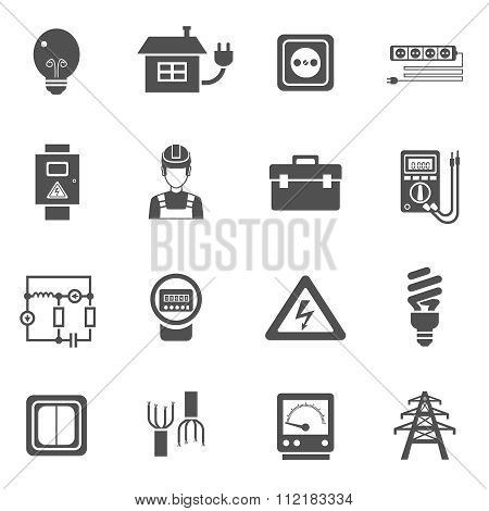 Electricity Black White Icons Set