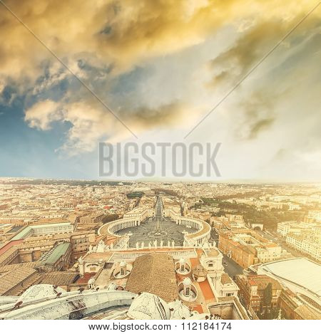 Saint Peter Square and Saint Peter Basilica in sunset, Vatican