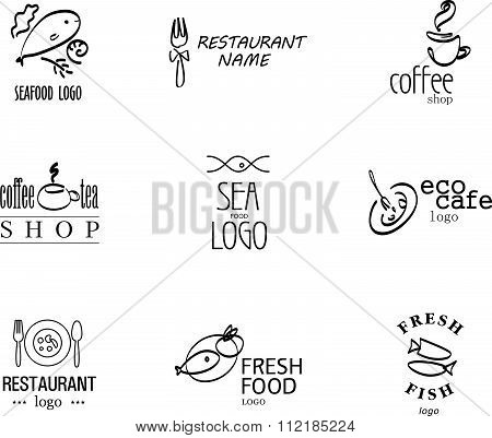 Vector set of restaurant logo design