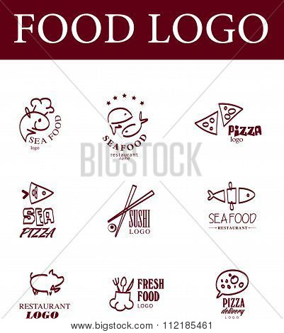 Eco food, fast food, sushi, pizza icons, fish and se