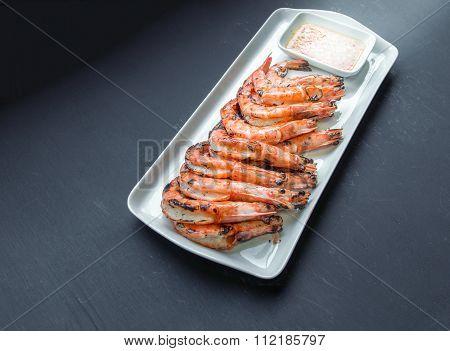 Fresh Grilled Shrimps Close Upfresh Grilled Shrimps, Blak Background. Eat With Spicy Seafood Sauce
