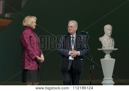 ST. PETERSBURG, RUSSIA - DECEMBER 16, 2015: Director of the Hermitage Museum Mikhail Piotrovsky (center) presenting awards during the closing ceremony of St. Petersburg International Cultural Forum