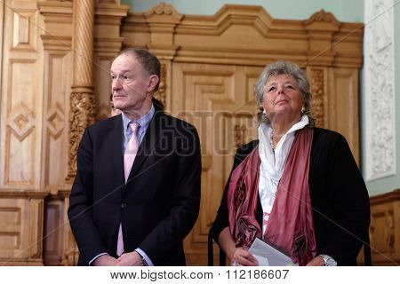 ST. PETERSBURG, RUSSIA - DECEMBER 15, 2015: Minister of culture of Luxembourg Maggy Nagel (right) and Advisor of the Luxembourg government for culture Bob Cripps during St. Petersburg Cultural Forum