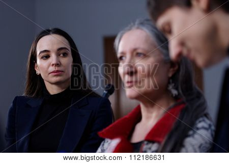 ST. PETERSBURG, RUSSIA - DECEMBER 15, 2015: Prima ballerina of the Mariinsky theater Diana Vishneva (left) at the panel discussion during 4th St. Petersburg International Cultural Forum