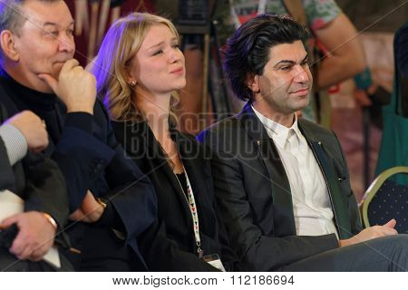 ST. PETERSBURG, RUSSIA - DECEMBER 14, 2015: Russian ballet dancer and teacher Nikolay Tsiskaridze (right) during the award ceremony Philanthropist of the Year at the 4th St. Petersburg Cultural Forum