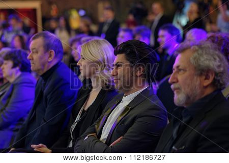 ST. PETERSBURG, RUSSIA - DECEMBER 14, 2015: Russian ballet dancer and teacher Nikolay Tsiskaridze (center) during the award ceremony Philanthropist of the Year at the 4th St. Petersburg Cultural Forum