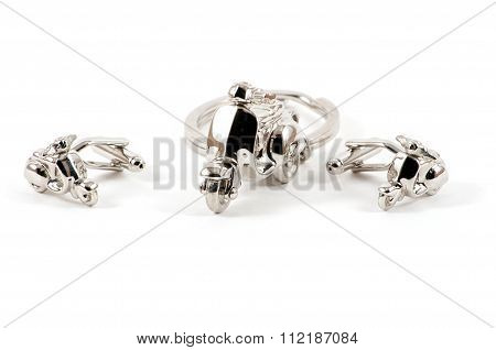 Isolated Motorbike Keychain And Cufflinks
