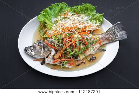Fish Dishes - Steamed Snapper With Soy Sauce Thai Foods