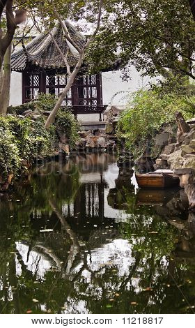 Ancient Chinese Pagoda Boat Water Reflection Garden Of The Humble Administrator