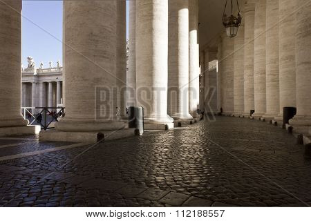 The Doric Colonnade Of Saint Peter Basilica