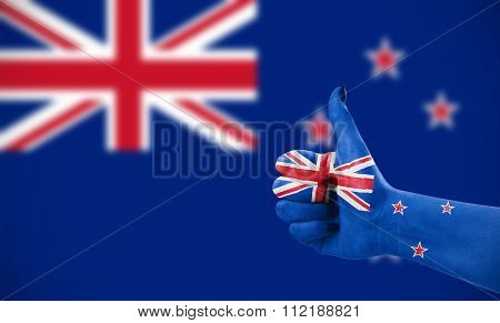 Flag Of New Zeland On Hand