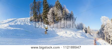 Ski Resort Snow Guns Running In The Snow And Trees Inii Winter H