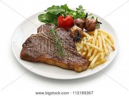 t-bone steak,porterhouse steak,bistecca alla fiorentina isolated on white background
