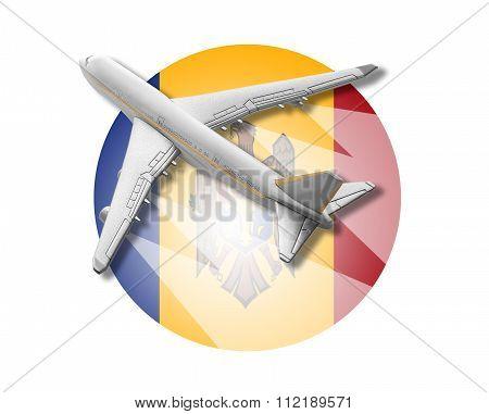 Plane and Moldova flag.
