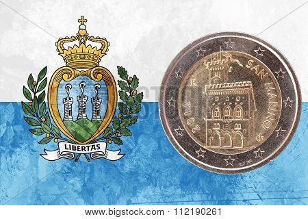 Sammarinese Two Euros Coin With Flag Of San Marino As Background