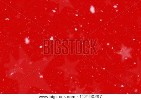 Snow Stars Red Background
