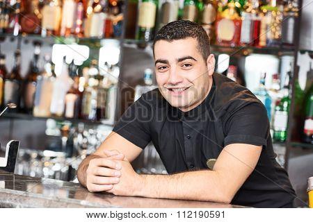 Portrait of cheerful barman worker standing behind bartender desk in restaurant bar