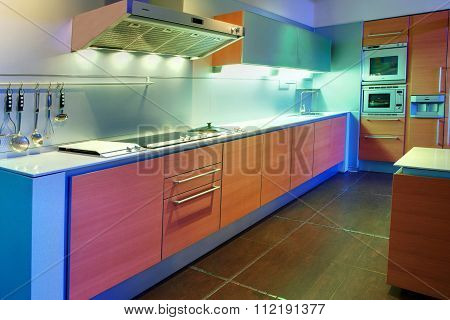 Kitchen Areas In Apartment Block Of Flats.