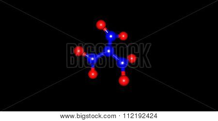 Trinitramide molecule isolated on black