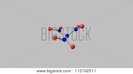 Trinitramide molecule isolated on grey