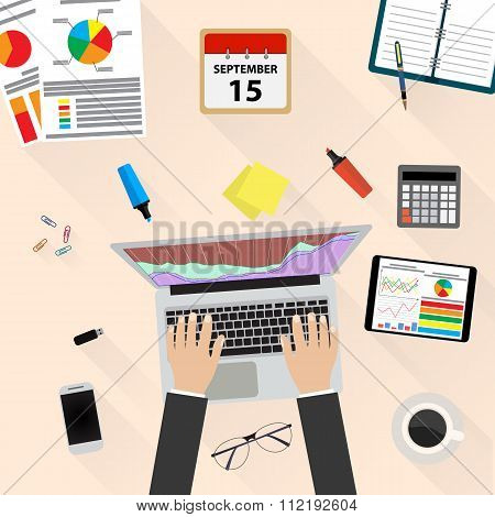 Businessman Workplace Desk Hands Working Laptop