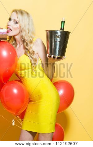 Woman With Wine In Pile